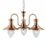 Fisherman 3 Light Pendant in Antique Brass with Seeded Glass - SEARCHLIGHT 5333-3AB
